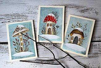 Papiernictvo - Vianočné pohľadnice - ručne maľované - Zima v lesnom podraste - 13860404_