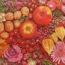 Papier - S1042 - Servítky - jeseň, jablko, orech, apple, autumn, ruža, roses - 13859959_