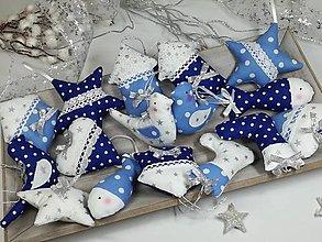 Dekorácie - Sada vianočných ozdôb modrá so striebornou - 13862470_