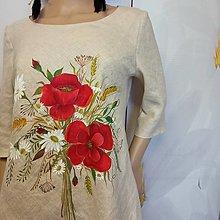 """Šaty - Ľanové, ručne maľované šaty """" Lúčna kytica s makmi """" (krémový ľan + kytica s makmi) - 13861802_"""