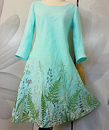 """Šaty - Ručne maľované tyrkysové ľanové šaty """" Lúčne II. """" - 13861902_"""