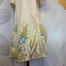 """Šaty - Ručne maľované béžové ľanové šaty """" Lúčne II. """" - 13862164_"""