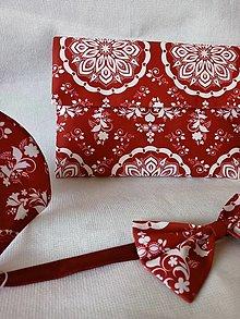 """Kabelky - FLORAL FOLK """" Modrotlač """", spoločenská kabelka (červená tmavá + biely vzor) - 13862210_"""