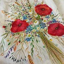 """Šaty - Ľanové, ručne maľované šaty """" Lúčna kytica s makmi """" (biela + kytica) - 13862407_"""