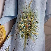 """Šaty - Ľanové, ručne maľované šaty """"Lúčna kytica + paprade"""" (Ľanové bledomodré šaty """" Lúčna kytica + paprade """") - 13862437_"""