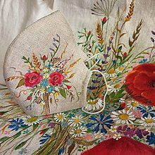 """Rúška - Ručne maľované ľanové rúška """" Byliny lúk a polí """" (lúčna kytica s klasom na krémovom) - 13862451_"""