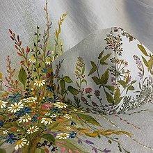 """Rúška - Ručne maľované ľanové rúška """" Byliny lúk a polí """" (bledomodrý ľan s bylinkami na lúke) - 13862478_"""