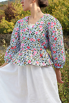 Topy, tričká, tielka - Zavinovacia akvarelová, ľanová Blúzka - 13859415_