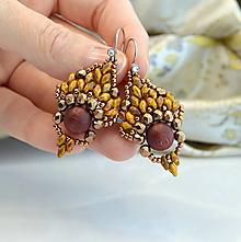 Náušnice - Indian Summer (Brown moss) - 13861700_