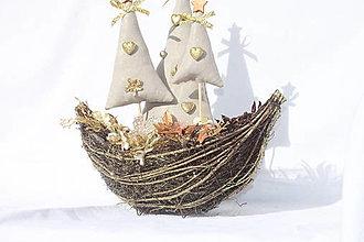 Dekorácie - Vianočné stromčeky - vianočná dekorácia v zlatej farbe - 13859809_