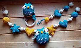 Hračky - Háčkovaný set pre bábätko - sovička - 13858688_