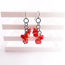 Náušnice - Koral červený strapce - chir. oceľ - 13864980_