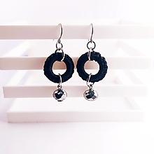 Náušnice - Čierne krúžky - chir. oceľ - 13865104_
