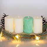Svietidlá a sviečky - Adventné sviečky zo 100% palmového vosku - Biele+Mentolová - 13863844_