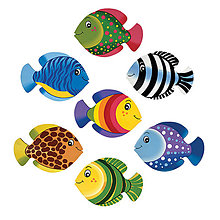 Detské doplnky - Sada farebných rybičiek na stenu ze dreva - 7ks - 13865264_
