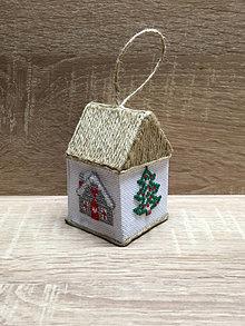 Dekorácie - Domček vyšívaný vianočný so 4 vzormi - 13864005_
