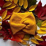 Čiapky - Turbanová čelenka - žltá (horčicová) - 13865301_