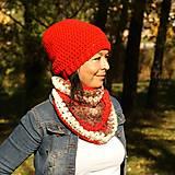 Čiapky, čelenky, klobúky - ošálnikový červený - 13869507_