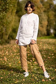 Nohavice - Ľanové nohavice Tara íľové - 13871552_