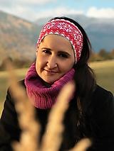 Čiapky - Úpletová čelenka nórsky vzor červená - 13870812_