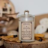 Svietidlá a sviečky - Sviečka zo sójového vosku v skle - Jahoda&Rebarbora - 13870364_