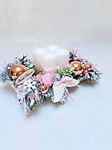 Dekorácie - Adventný svietnik ružový - 13870477_