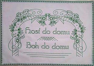 """Úžitkový textil - Kuchynská plátená nástenka ručne vyšívaná """"hosť do domu, Boh do domu"""" (zelená) - 13872083_"""