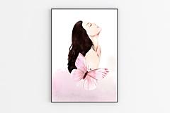 Grafika - Plagát moderný figurálny motív - Žena s motýľom 2 - 13874691_