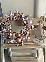 Dekorácie - Ružový veniec- mašličky - 13870500_