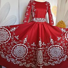 """Šaty - Spoločenské šaty Floral Folk - """" Red & white """" - 13875016_"""