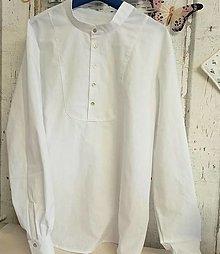 """Oblečenie - """"FLORAL FOLK""""  pánska  košeľa so stojačikom  (Dlhý rukáv snehobiela) - 13875659_"""