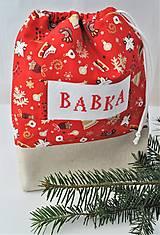 Úžitkový textil - Mikulášske vrecko s menom VIANOČNÁ A REŽNÁ (Červená) - 13883552_